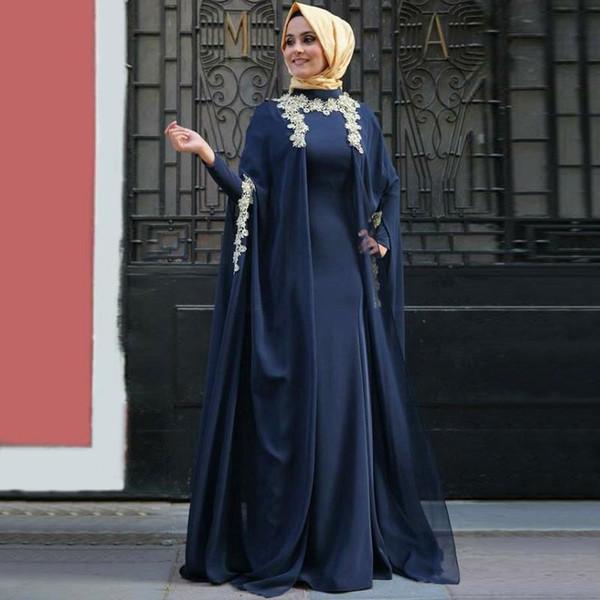 2019 Più recenti Royal Blue Chiffon maniche lunghe abiti da sera arabi Moda Abaya a Dubai Musulmani marocchini Kaftan Vestido formale con Hijab