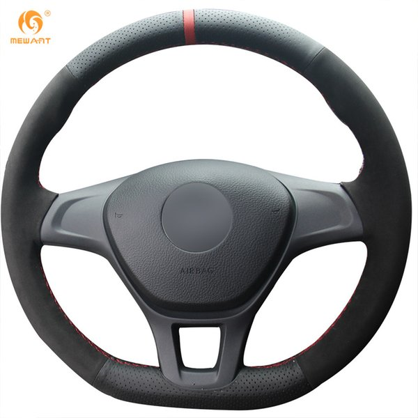 Mewant Black Genuine Leather Black Suede Car Steering Wheel Cover for Volkswagen VW Golf 7 Mk7 New Polo Jetta Tiguan Passat B8