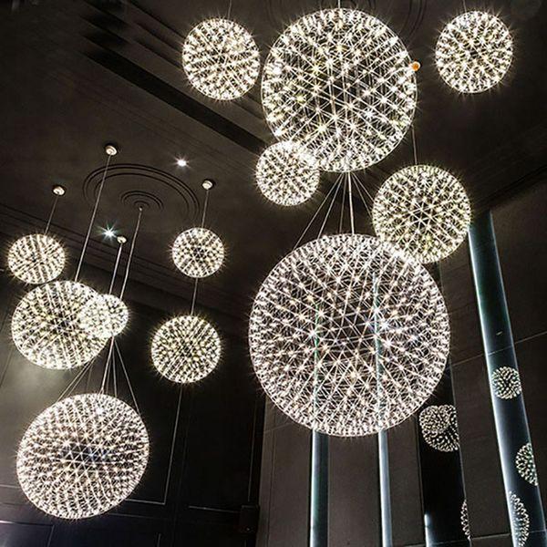 best selling modern living room pendant lamp light stainless steel ball led chandelier firework light restaurant villa hotel project pendant lighting