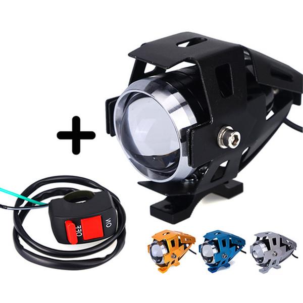 2pcs Motorcycle Headlight With Switch CREE LED Chip U5 125W 3000LM White 6000K Fog DRL Daytime Running Light Spotlight Led Lamp