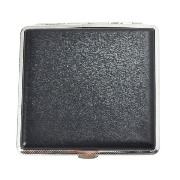 Vente en gros-New Hot vente noir argent presse bouton Faux Leather Metal Cigarette Holder