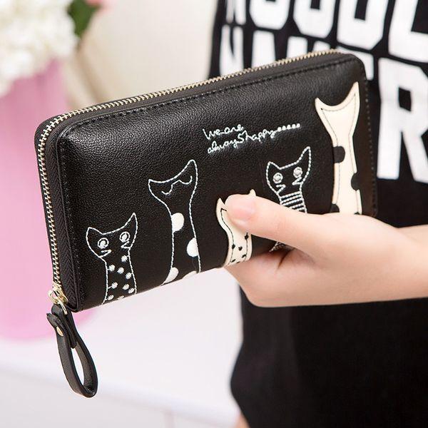 Europe Women Cat Cartoon Wallet Long Creative Female Card Holder Casual Zip Ladies Clutch PU Leather Coin Purse ID Holder