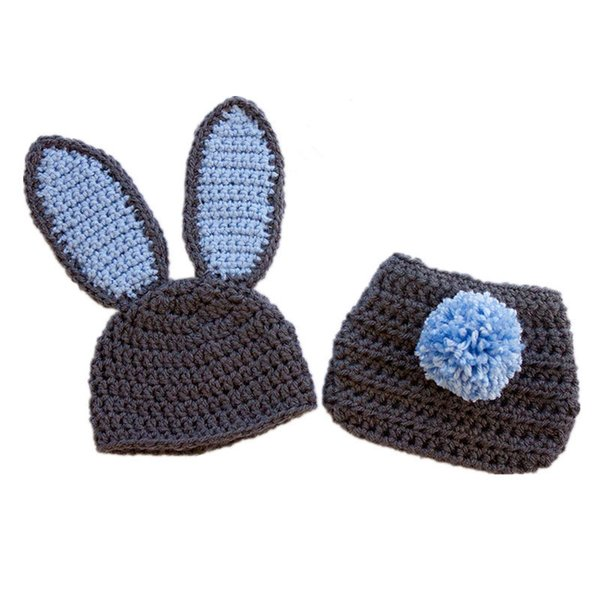Cute Newborn Gray Bunny Costume,Handmade Knit Crochet Baby Boy Girl Rabbit Animal Hat and Diaper Cover Set,Infant Toddler Easter Photo Prop
