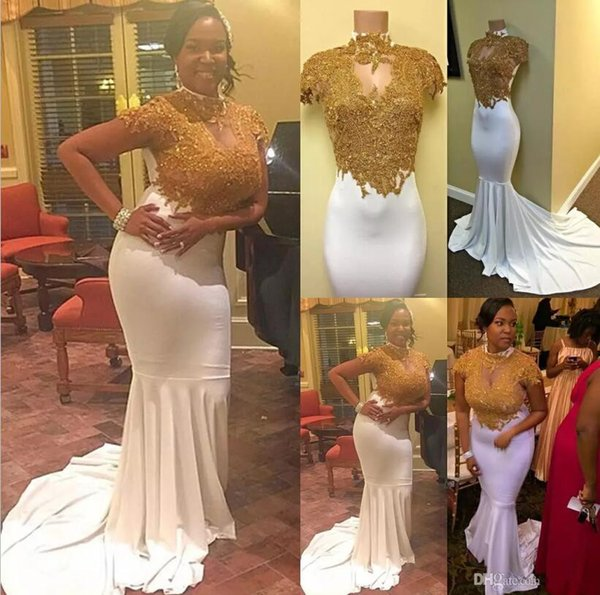 Hot 2017 Mermaid Cap Sleeves Prom Dresses High Collar Keyhole Neck Gold Appliqued Occasion Evening Gowns Stretchy Long Train