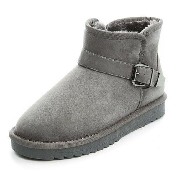 Fashion Faux Fur Leather Warm Women's Boots Winter Ankle Snow Boots Ladies Plush Snow Shoes Buckle Cotton Flat Shoes Size 35-40