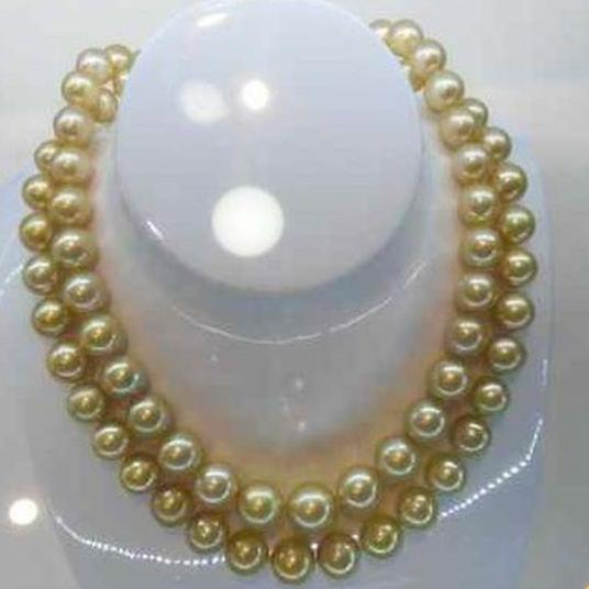 Charming 35 Inch Natural 10-11mm South Seas Gold Pearl Necklace 14k Gold Clasp