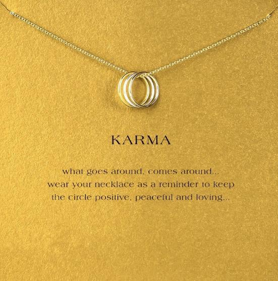 With card! cute Dogeared Necklace with 3 circles (Karma) Silver and Gold color, no fade, free shipping and high quality