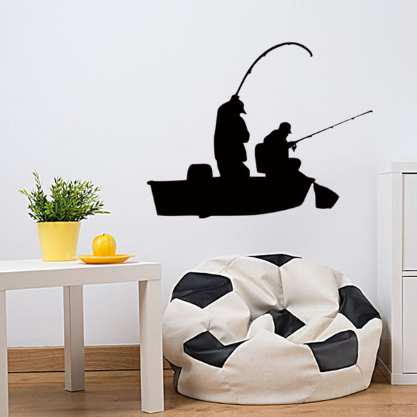 Creative Fishing Bass Trout Boat Fish Fisherman Graphic wall Sticker Bedroom Living Room Art Deco Vinyl Decal DIY
