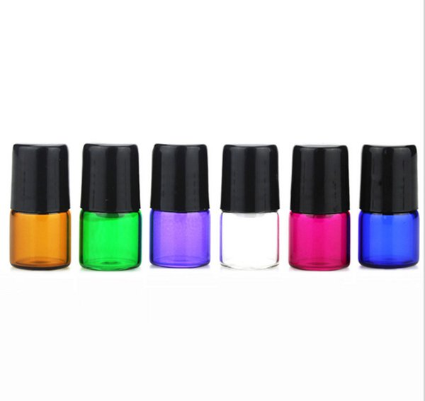 3600 Adet Renkli 1 ml Roll-On Boş Cam Şişeler Amber Mavi Yeşil Kırmızı Mor Temizle Metal Rulo Topu Şişeleri Uçucu Yağ Için Sıvı Krem