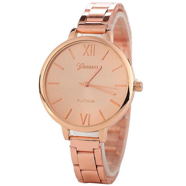 100pcs Wholesale fashion women ladies geneva alloy roman numbers watch casual thin metal bands bracelet lady dress quartz wrist watches