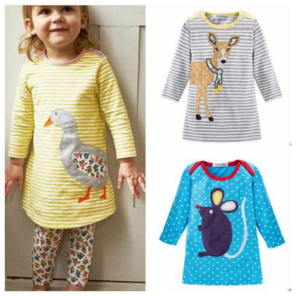Girls Dresses Baby Clothes Kids Long Sleeve Autumn Dress Animal Print Cotton Dress Polka Dot Cartoon Dress Mouse Deer Rabbit Dresses B3148