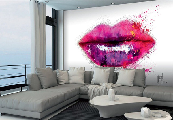 Framed Patrice Murciano COLOURS OF KISS PINK LIPS,Pure Hand Painted modern Portrait Wall Art Oil Painting On Canvas.Multi sizeS PM024