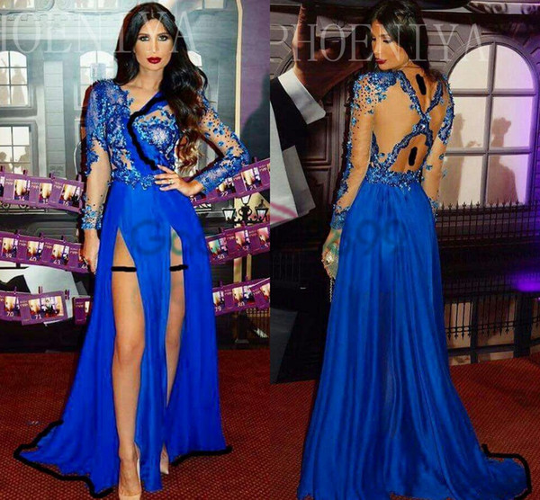 Royal Blue Lace Chiffon Split Evening Formal Dresses 2019 Modest Illusion Bodice Long Sleeve Saudi Arabia Occasion Prom Party Dress