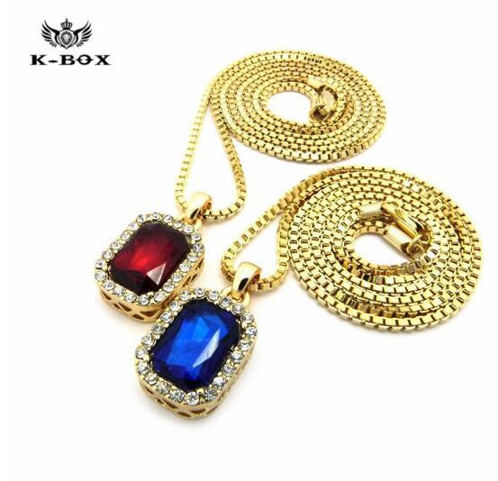 "24K Gold Square Ruby Emerald Gem Stone Pendant Charm 24"" Chain Necklace men necklace Fashion Jewelry men jewerly"