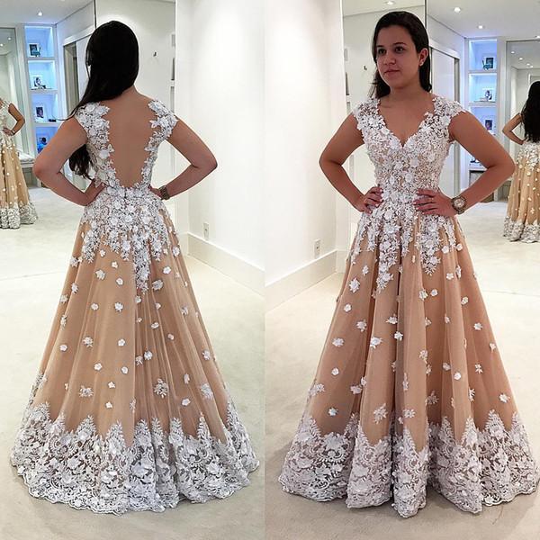 Großhandel Glamorous Champagne Und White Prom Kleid Formale Kleider ...
