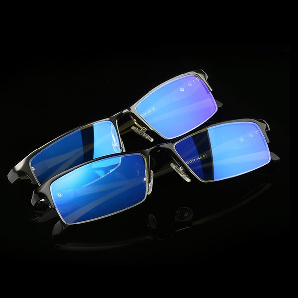 Wholesale- Anti Blue Light Ray Computer Glasses Frame Men of Spectacles Frame Square And AL-Mg Alloy Hinge Vintage Eyeglasses Semi-Rimll268
