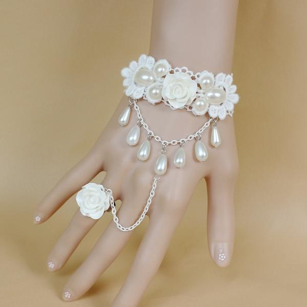 Elegant fashion women bracelet with ring vintage princess white rose pearls pendant hand chain ring bracelet