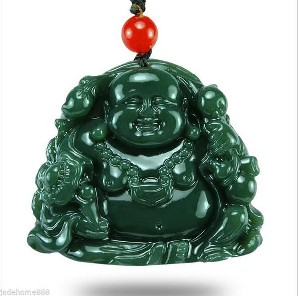 Chinese 100% Natural Nephrite hetian Jade Maitreya Buddha Jade pendant necklace