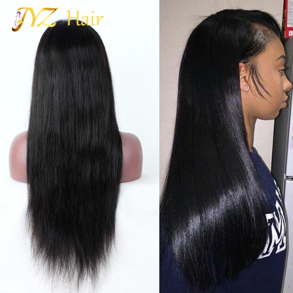 best selling JYZ 130% Density Lace Front Human Hair Wigs Peruvian Virgin Hair Front Lace Wigs Straight Full Lace Human Hair Wigs For Black Women