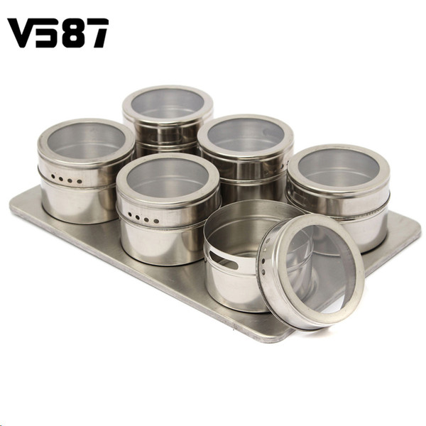Wholesale- 6pcs/Set Magnetic Spice Jar Seasonings Containers Flavor Condiments Storage Box With Holder Rack Kitchen Accessories