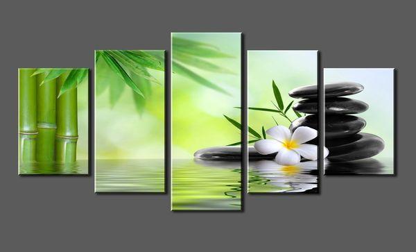 5 Pannelli Canvas Print Pietra SPA, Bamboo Photo Canvas Art allungato e incorniciato pronto da appendere per la decorazione domestica