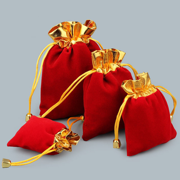 top popular Gold side Velvet Drawstring Pouch Bag Jewelry Bag Christmas Wedding Gift Bags red black NE815 2020