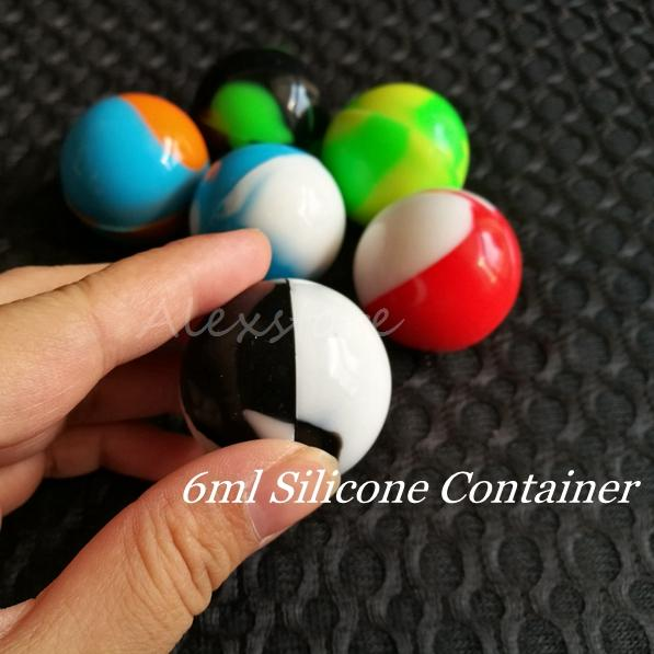 Non-Stick Container Wax Jars 6ml Ball Shaped Food Grade Silicone Gel Storage Small Box For Dab Dabber Tool Bho Oil Herbal Concentrate FDA