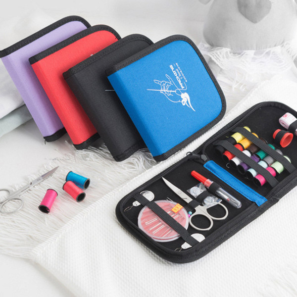 Hot sale portable mini traveling sewing kits bag with color needle threads scissor pin sewing set outdoor household sewing tools ZJ0143