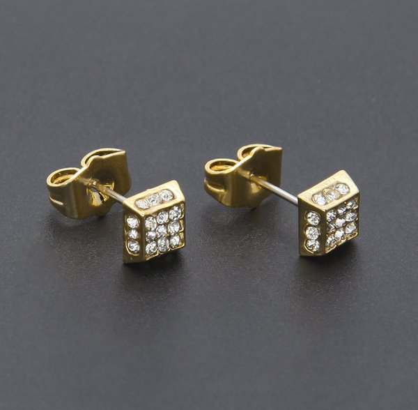 Hip Hop Bling CZ Stud Earring Mens Silver/Gold Plated Iced Out 3-4 Row Stud Earrings Square Screw Back Earring