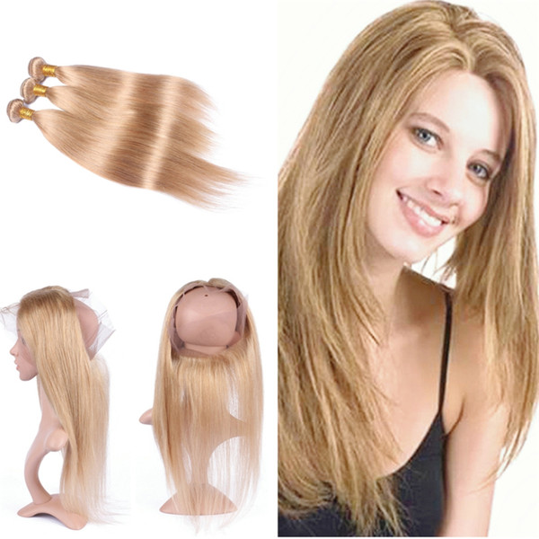 Silky Straight Hair Weft With Pre Plucked 360 Frontal 4Pcs/Lot Honey Blonde 27 Hair 3 Bundles With 360 Frontal 22.5x4x2r