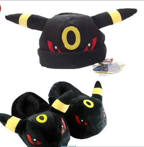 OHMETOY Umbreon Plush Toys Cosplay Slippers Shoes Plushie Winter Cap Warm Hat Costume for Adults Teenagers Christmas Gift