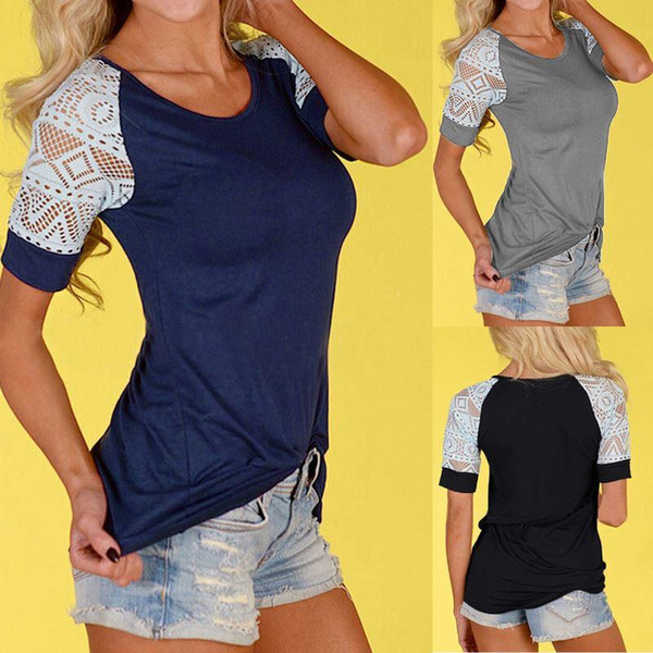 Hot Women Summer Lace Blouse Blusas New Sexy O Neck Short Sleeve Crochet Casual Slim Tops Shirts Plus Size