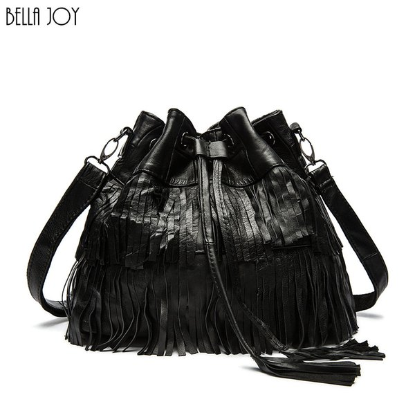 BELLA JOY Fashion Women Genuine Leather Tassels Bags Hobo Handbags Shoulder Tote Ladies Women Messenger Bags
