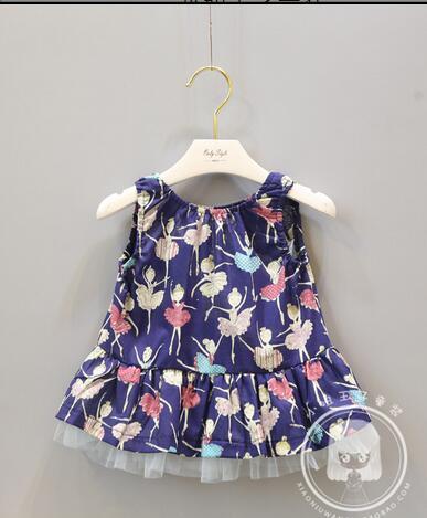 2017 Новый бренд Baby gilr и детская одежда цветочные платье без рукавов девочка принцесса топ (6M-3 лет) Бесплатная доставка