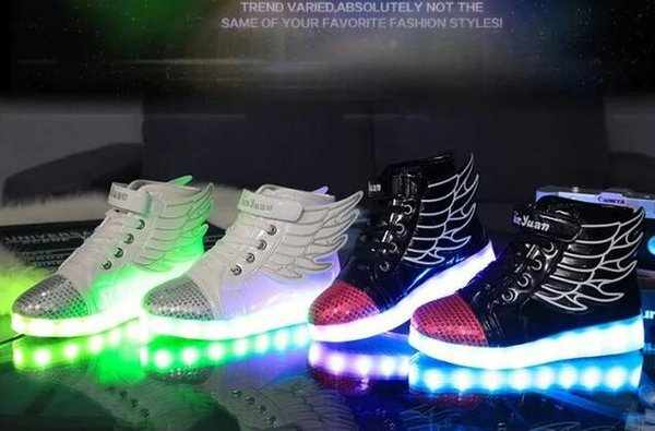 top popular 25-37 Kids sneaker Luminous Lighted with wing LED light up usb Children Casual Flat Boy girl high Shoes red white dance trainer black 2019
