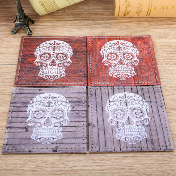 Wholesale- LINKWELL Set of 4 10cmx10cm Happy Halloween's Day Ornament Wood Slat Sugar Skull Coasters Cup Holder Coffee Coasters Cup Mat