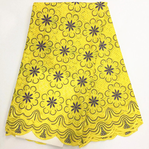 5 Yards/lot Hot sale yellow african cotton lace fabric with purple flower design swiss voile lace for clothes BC133-7