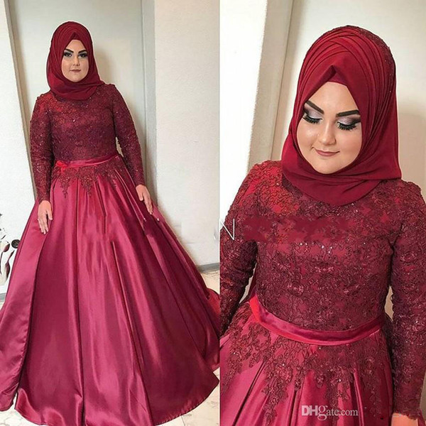 Plus Size Muslim Dark Red Evening Dresses Custom Made Lace Appliques Long Sleeves Prom Dress Ball Gown Vestido Longo