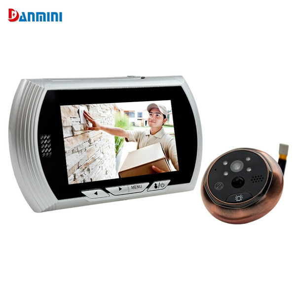 Danmini Smart Digital Door Viewer Peephole Camera with PIR Motion Detection Night Vision DND Function 4.3 inch HD Color Screen Smart +B