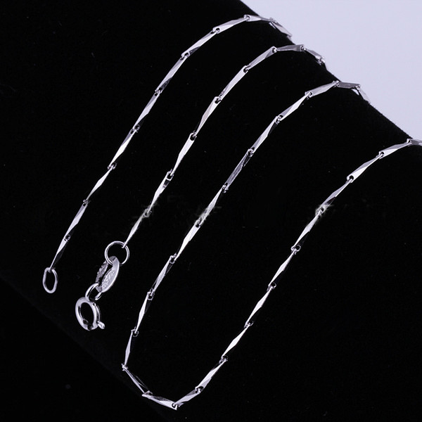 Lowest Price 925 Sterling Silver Box Chain Seeds Chain Necklaces Jewelry TOP Quality 925Silver Plated 1mm 2.5g 18inch 50pcs fashion jewelry
