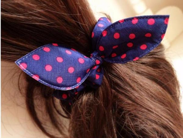 100pcs Hot girl women cute mix styles randonly rabbit ear hair rope hair rubber bands Polka dot leopard trip Rabbit Ears scrunchy Hair tie