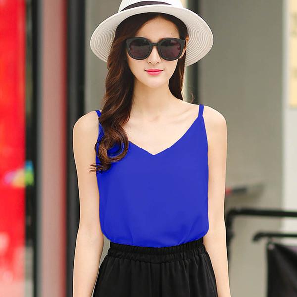 Wholesale-S-XXXXL Plus Size Vest 2016 Women Candy Colors V-Neck Camis Summer Loose Feminina Chiffon Shirt D2112