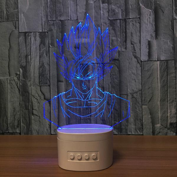 3D Goku LED Lamp Speaker 5 RGB Lights Bluetooth Speaker TF Card Wholesale Dropshipping