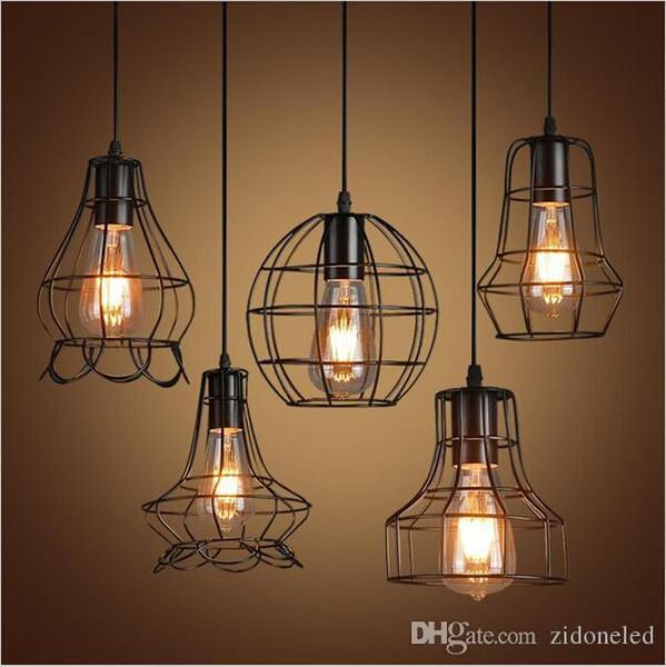 best selling Retro iron birdcage led pendant light loft hanging lamp E27 LED industrial pendant lights fixture bar cafe restaurant store lighting