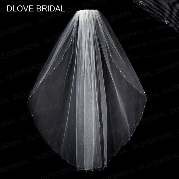 Free Shipping New Design Clear Crystal Bridal Veil with Comb One Layer Fingertip Length Beaded Wedding Hair Accessory White Ivory