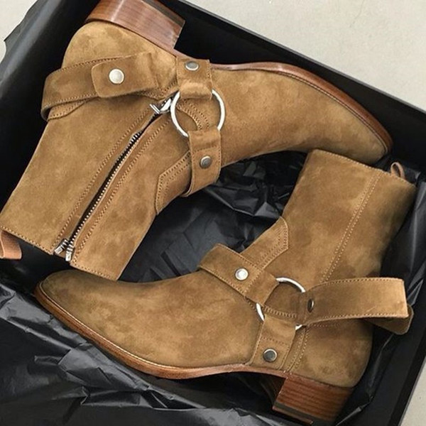 0d0f517530c66d Tan/Black Suede Leather Chains Harness Men Boots Stacked Heel Anke Boots  Side Zip Men