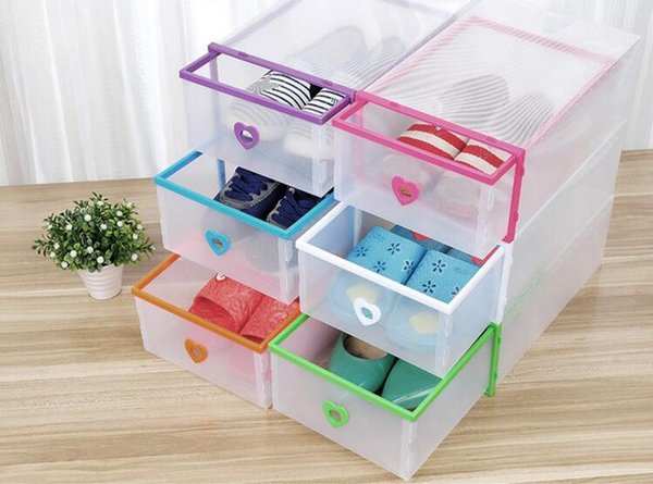 Drawer Type Transparent Shoe Box Thickening Plastic Wrapping Storage Box Stackable Foldable Cost Effective Rectangle Bins Hot Sell 5qj J R