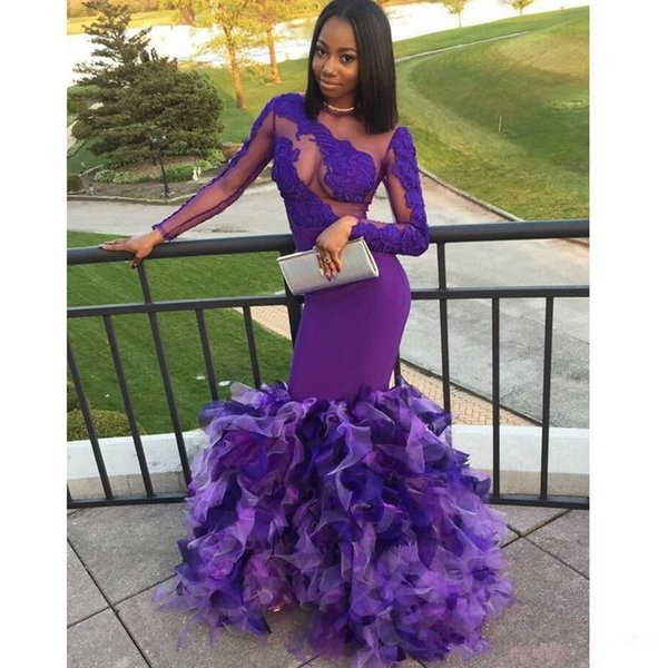 Top Lace and Satin with Tulle Bottom Mermaid Evening Dresses Jewel Long Sleeve Sheer Back Sweep Train Sexy Top See Through Prom Dresses