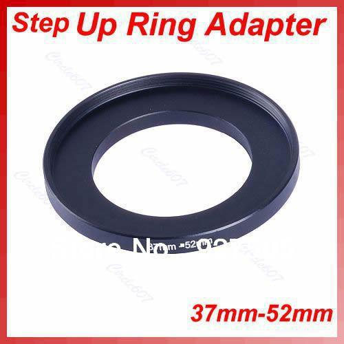 Wholesale- 5pcs/lot 37mm-52mm 37-52 mm 37 to 52 Step Up Lens Filter Metal Ring Adapter Black