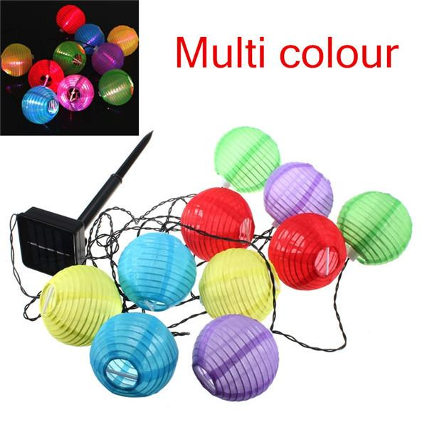 Umlight1688 Lantern Solar String Lights Outdoor Globe Lights 30LED Warm White/Multi Color Fabric Ball Christmas Lights for Garden Path Party
